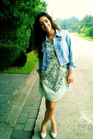 green Zara dress - blue H&M jacket - gray H&M shoes