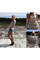 black DinSko shoes - beige Vero Moda blouse - beige Mango purse - blue unknown s