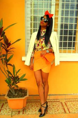orange skirt - light yellow floral print shirt