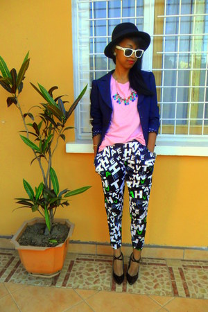 dark green printed pants - H&M hat - navy Missing Dorothy blazer