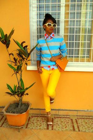 aquamarine striped sweater - yellow Skinny jeans - red cherry print shirt