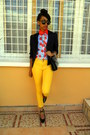 Yellow-skinny-jeans-missing-dorothy-blazer-sky-blue-cherry-print-shirt