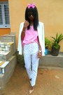White-floral-pants-off-white-printemps-blazer-pink-diy-headband-accessories