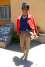 Red-max-mara-jacket-ruby-red-cat-eye-sunglasses-blue-lacey-top-denim-heels