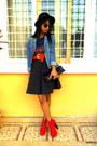 Red-litas-like-shoes-black-h-m-hat-denim-diy-pearled-collar-jacket