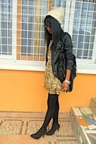 yellow floral dress - black Bershka leather jacket - black Fringe bag