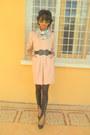Sky-blue-floral-h-m-scarf-light-pink-dress-black-zippered-leggings