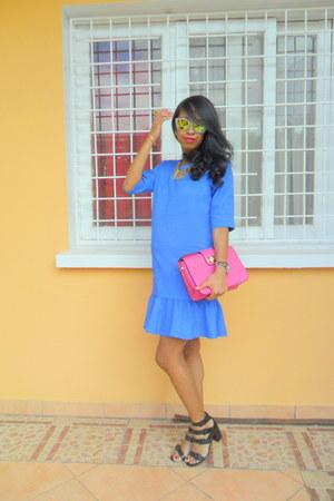blue vintage dress - mirrored sunglasses - black Zara sandals