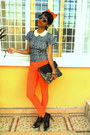 Black-new-look-purse-black-boots-carrot-orange-skinny-jeans-h-m-sunglasses