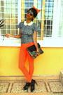 Black-new-look-purse-black-boots-carrot-orange-skinny-jeans-h-m-sunglasses