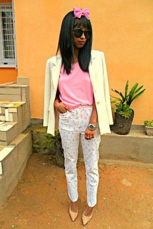 off white Printemps blazer - light pink floral heels