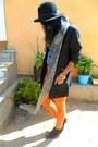 Black-lily-shoes-boots-carrot-orange-skinny-jeans-black-h-m-hat
