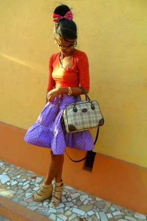 purple polka dots skirt - Time bag - Guess sunglasses - Guess watch