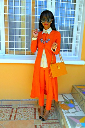 orange bag - carrot orange coat - carrot orange Skinny jeans