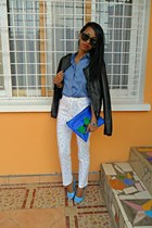 sky blue DIY cap toe heels - Bershka leather jacket - Louis Vuitton shirt