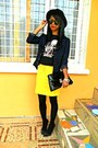 Black-h-m-hat-black-bones-t-shirt-yellow-skirt
