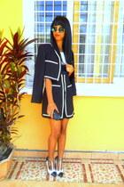Blue and white jacket - Blue and white shorts - Christian Louboutin heels