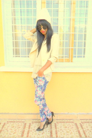 floral pants - jacket - H&amp;M sunglasses - crochet top - Christian Louboutin pumps