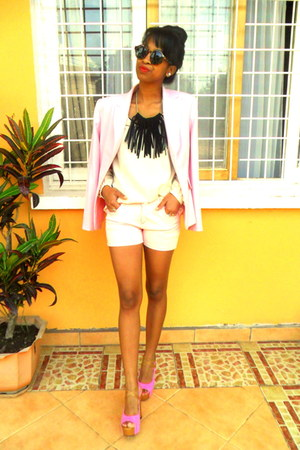 black fringed DIY necklace - light pink blazer - neutral shorts - H&amp;M sunglasses