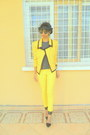 Yellow-blazer-yellow-skinny-pants-black-zara-ankle-strap-heels