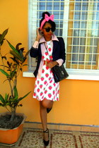 red strawberry print dress - Missing Dorothy blazer