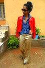 Golden-palazzo-pants-red-max-mara-jacket-blue-denim-shirt