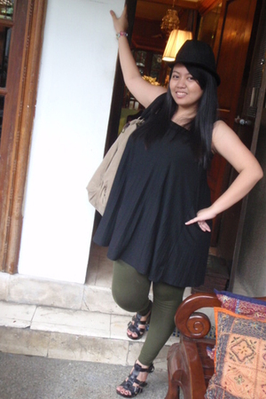 kashieca dress - Bleach Catastrophe purse - hat - ukay-ukay tights - Zara shoes