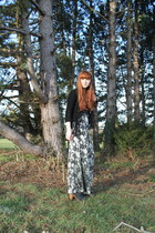black suede fringed Topshop jacket - forest green wide leg Topshop pants - burnt