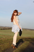 light blue Topshop dress - black Topshop hat - white Topshop jacket - burnt oran