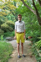 light purple bow tie Express tie - navy sperry shoes - yellow JCrew shorts