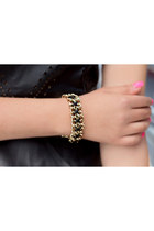 Black Gold Leather Chain Bracelet