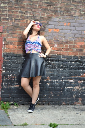 leather ovoloo skirt - ombre AJ Morgan sunglasses - chevron 1018 top