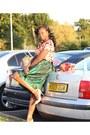Green-diy-skirt-silk-loose-south-blouse-nude-jojocat-heels