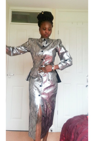 silver midi Entente dress