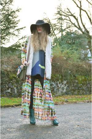 green H&M boots - navy DKNY dress - cream wool waistcoat H&M vest