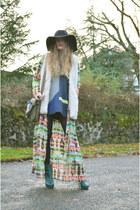 green H&M boots - navy DKNY dress - cream wool waistcoat H&M vest