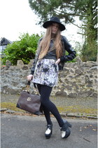 black H&M hat - black Topshop jacket - dark brown Misstella bag
