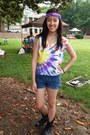 Black-charlotte-russe-boots-blue-thrifted-diy-shorts-yellow-tie-dye-t-shirt