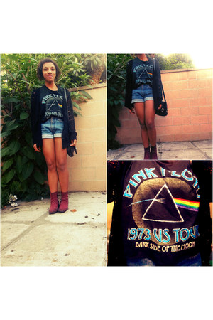 black pink floyd shirt - maroon suade Thrift Store boots