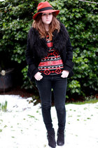 burnt orange Forever 21 jumper - black Topshop boots - black Topshop coat