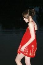red chiffon silk thrifted vintage dress - black DIY bra