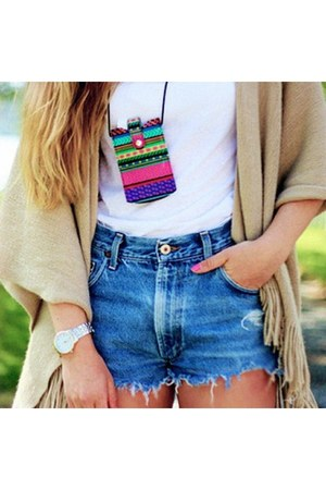 white watch - blue jeans - white shirt - tan scarf - hot pink accessories