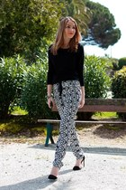 black Maje sweater - navy Mango pants - black Zara heels