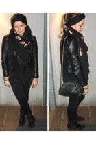 Kenya souvenir bracelet - Zara jacket - Zara scarf - vintage bag