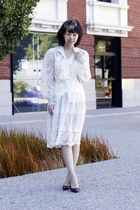 ivory lace chictopia shop shirt - black Prada shoes