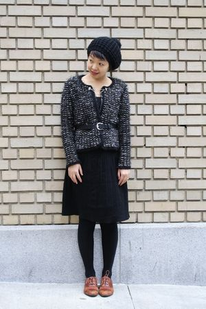 black Zara cardigan - Target skirt - H&amp;M hat - etienne aigner belt - brown miz m