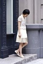 pleated Rozae Nichols skirt - silver lace Zara top - Wano Wano wallet
