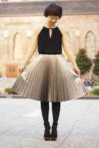 black Jeffrey Campbell shoes - silver pleated H&M skirt