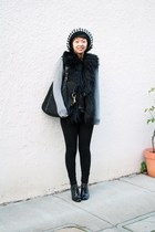 black hat - black Aldo shoes - black Weston Wear vest - silver BCBG top