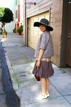 purple ann taylor jacket - brown Target skirt - brown free people top